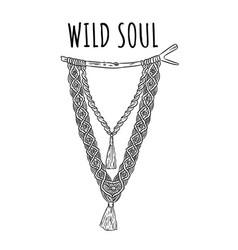 Wild soul macrame boho style label textile vector