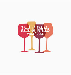 wine glass logo red and white wine banner vector image