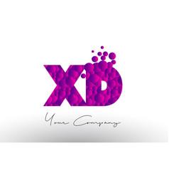 Xd x d dots letter logo with purple bubbles vector