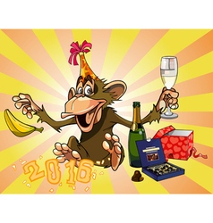 cartoon funny monkey celebrates 2016 vector image vector image