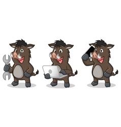 Dark Brown Wild Pig Mascot with laptop vector image