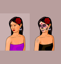 girl with calavera makeup vector image vector image