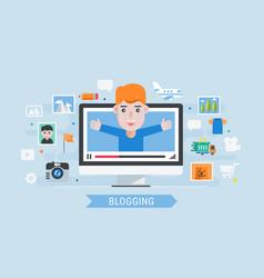 man blogger vector image vector image