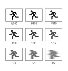 photography cheat sheet in icons shutter speed vector image vector image