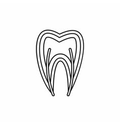Tooth cross section icon outline style vector