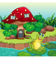 A frog and a mushroom house vector image vector image
