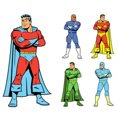 Classic Superhero and Cool Variations Image Set vector image vector image