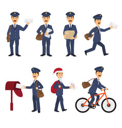 postman mailman delivers mails in postbox vector image