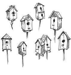 Set of hand drawn bird houses vector image vector image