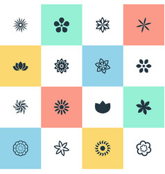 set of simple flower icons vector image