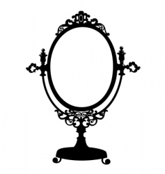 silhouette of antique mirror vector image