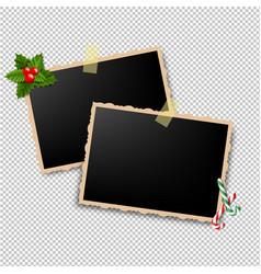 xmas retro photo frame vector image