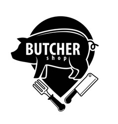 butcher shop black emblem with pig and cutlery vector image