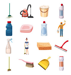 Cleaning icons set detergents cartoon style vector