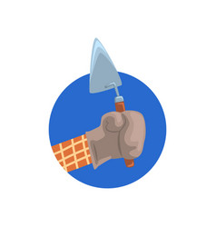 hand holding building trowel symbol of the vector image