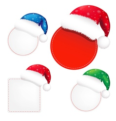 Christmas Banners Set With Color Santa Claus Cap vector image vector image