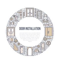 doors installation signs repair banner vector image