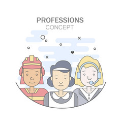 linear flat people faces and professions vector image vector image