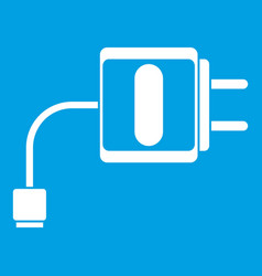 mini charger icon white vector image vector image