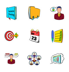 office information icons set cartoon style vector image vector image