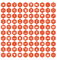 100 cyber security icons hexagon orange vector