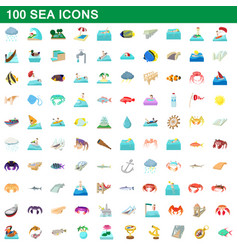 100 sea icons set cartoon style vector
