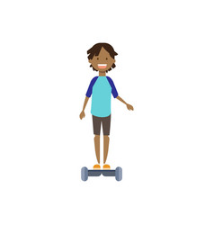 african young boy riding electro scooter over vector image