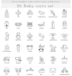 Baby ultra modern outline line icons vector