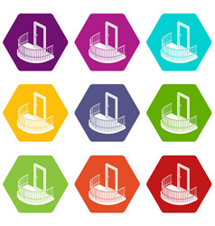 balcony door icons set 9 vector image