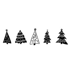 black and white collection christmas tree vector image