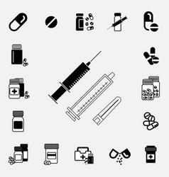 black and white syringe icon vector image
