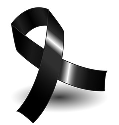 Black awareness ribbon and shadow vector image