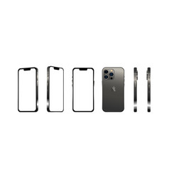 Black modern smartphone mobile iphone 13 pro in 6 vector