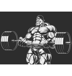 Bodybuilder with barbell vector