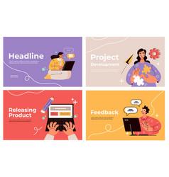 business people making internet activity slide vector image