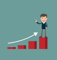 Businessman success standing on graph looking vector