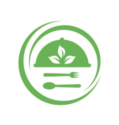 Cafe or restaurant serving organic food logo vector