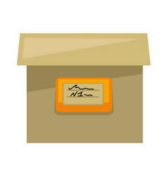 cardboard box with sign on side isolated vector image