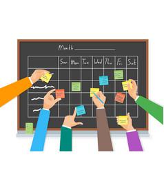 cartoon business team writing blackboard vector image
