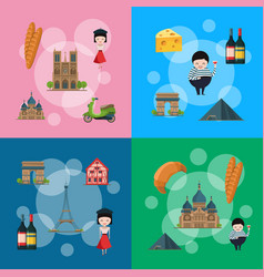 cartoon france sights vector image