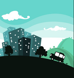 cartoon town travel with building and car vector image