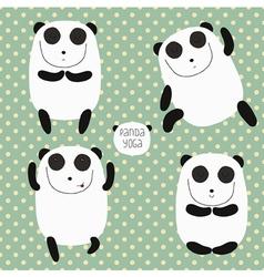 Cheerful set with cartoon panda vector