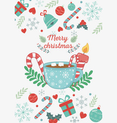 Chocolate cup marshmallow candle candy cane merry vector
