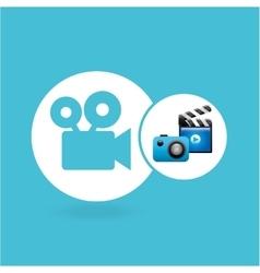 Clapper camera video player concept design vector