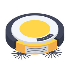 cleaning robot vacuum cleaner rounded shape vector image