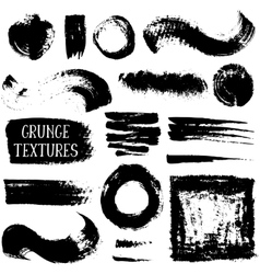 Collection of black ink abstract grunge vector