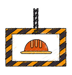 Construction board hanging icon vector