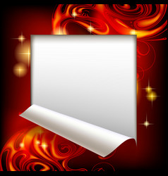 cut framed paper sheet with red abstract luminous vector image