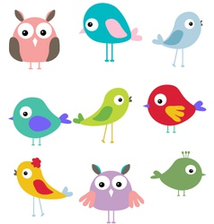 Cute bird cartoon set vector