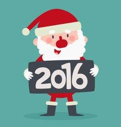 Cute Santa Holding a 2016 New Year Sign vector image